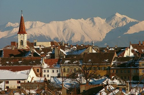 The snow-capped Carpathian Mountains, seen from my hometown Sibiu, Romania.