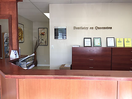 Beautiful main front desk area of dental office of Dentistry on Queenston, Hamilton, ON