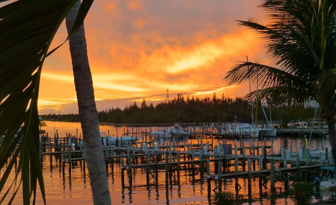 Treasure Cay Sunset over the Marina