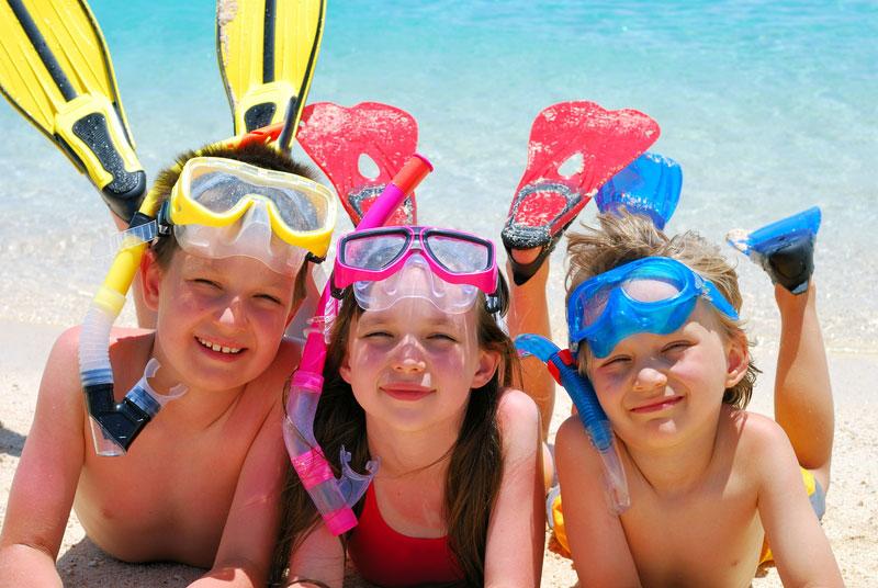 Three friends snorkeling