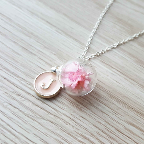 Star Flowers Necklace with Initial 小星花項鍊連字母吊牌