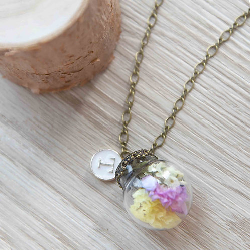 Opera Flower Necklace with Initial 花藝長項鍊連字母吊牌