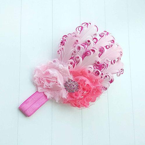 Rose - Princess Feather Headband 玫瑰 - 公主羽毛髮飾