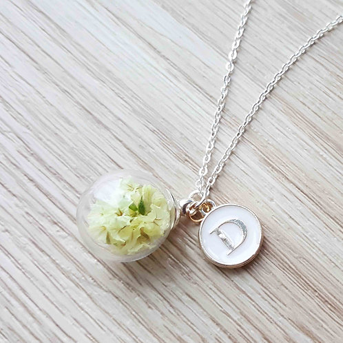 Crystal Grass Necklace with Initial 水晶草項鍊連字母吊牌