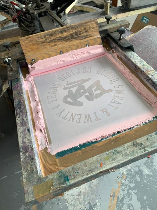 Pink!  Custom mixed pastel pink ink for skate shop ESP