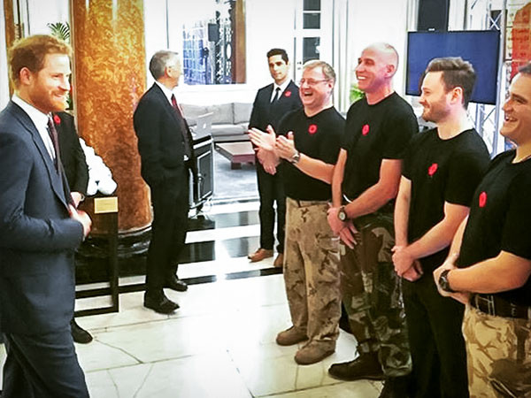 HRH Prince Harry greets Canadian veterans at Canada House on Armistice Day in London.