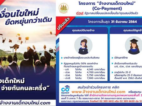 โครงการ Co-Payment จ้างงานเด็กจบใหม่ (1 ตุลาคม 2563 - 30 กันยายน 2564)