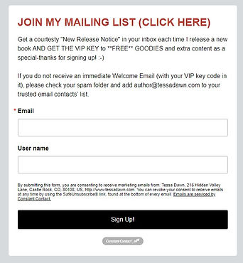 SCREEN SHOT OF SIGN UP FORM (Not actual