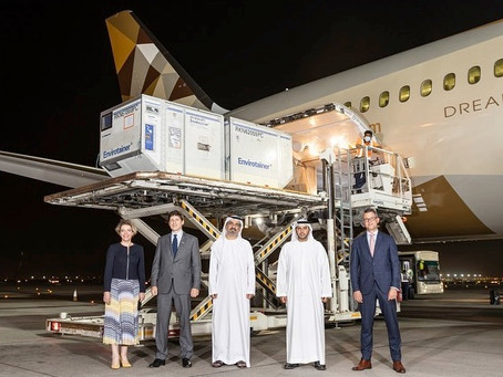 Abu Dhabi Department of Health welcomes flight carrying first global shipment of Sotrovimab.