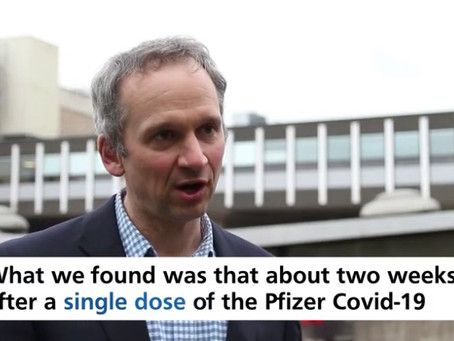 Study shows a single dose of Pfizer BioNTech vaccine reduces SARS-CoV-2 infections by 75%.