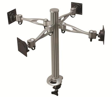Soporte poste para cuatro monitores de brazo simpl