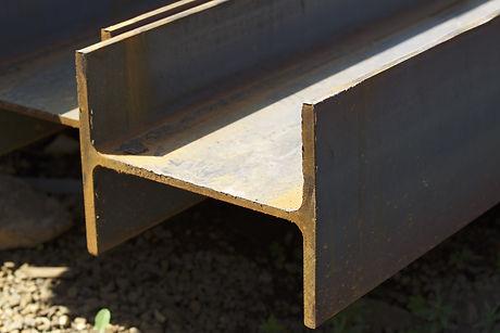 Metal profile beam in packs at the wareh