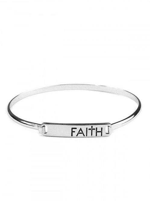 Silver Faith Bar Bangle
