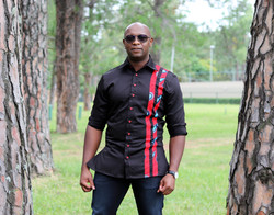 Black and red African print mens shirt