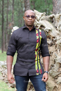 Black and yellow African Print ments shi
