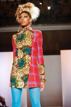 african fashion model in plaid