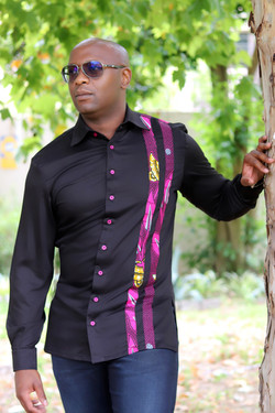 Black and pink African print mens shirt