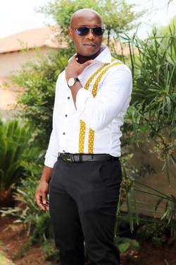 tucked in Shweshwe african print shirt