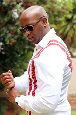 White and Red African print mens shirt