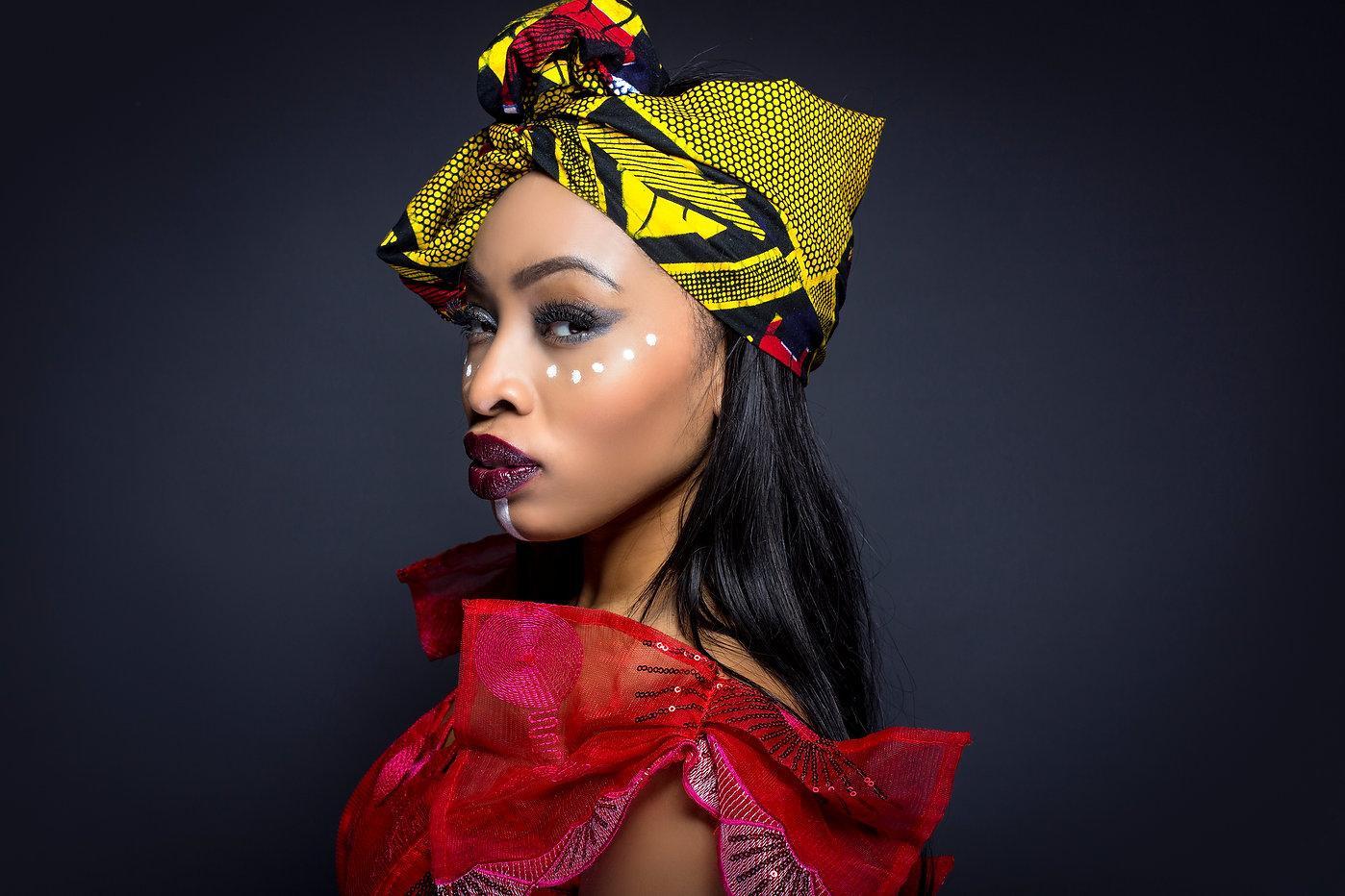Black female showing African pride by we