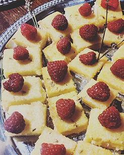 Lovely lavender lemon bars for dessert!_