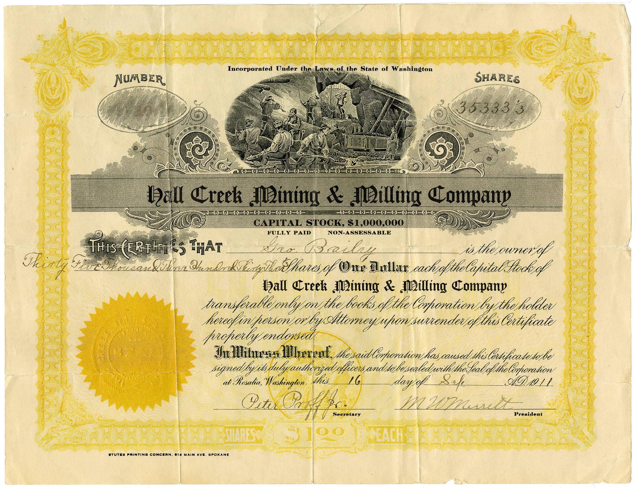Hall_Creek_mining_stock_certificate_1911