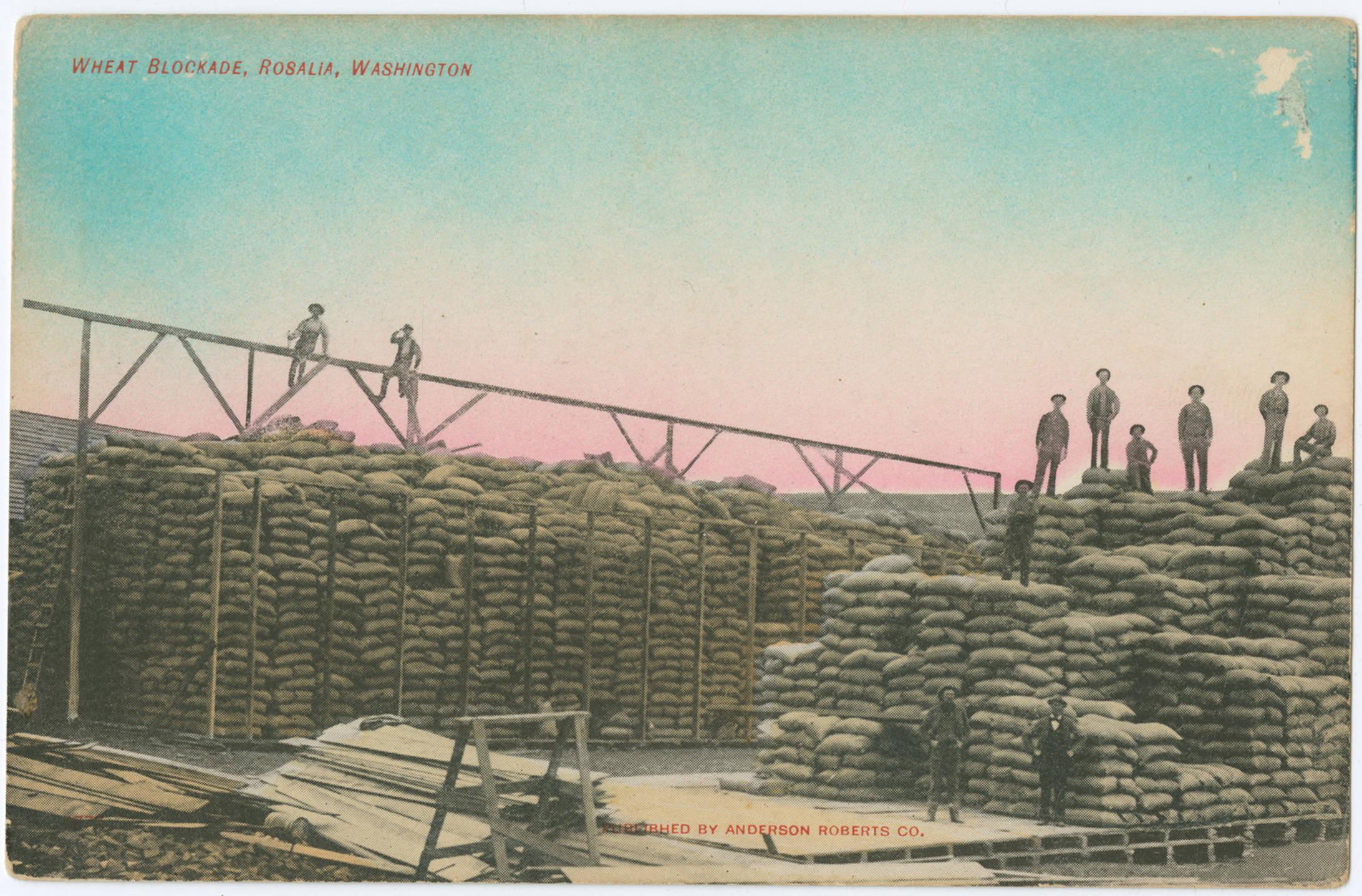 Wheat_blockade_Rosalia_Washington_circa_1910