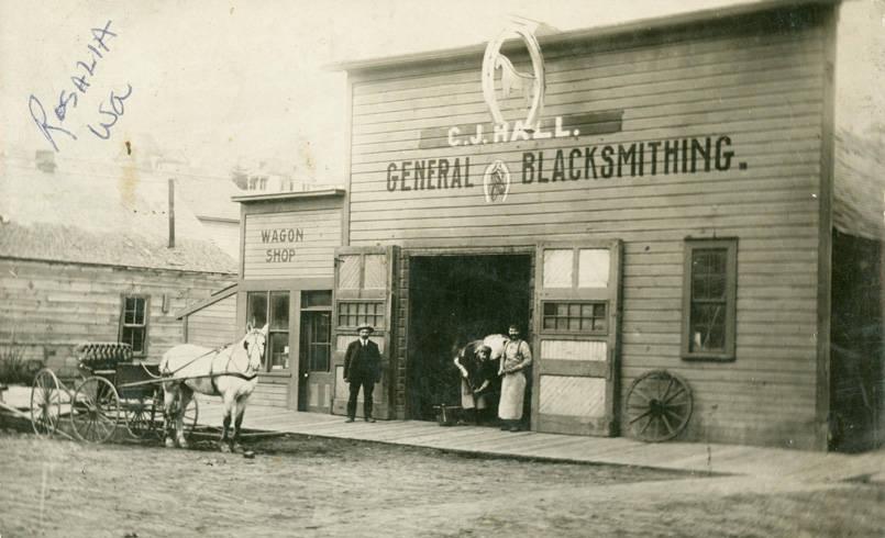 C_J_Hall_General_Blacksmithing_Rosalia_Washington_circa_1920