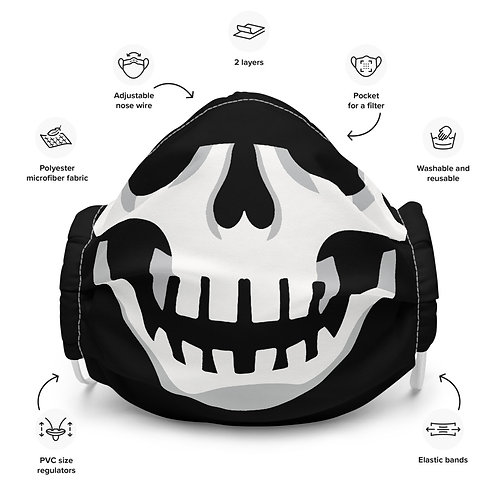 Buccaholics Black Skull Cloth Face mask