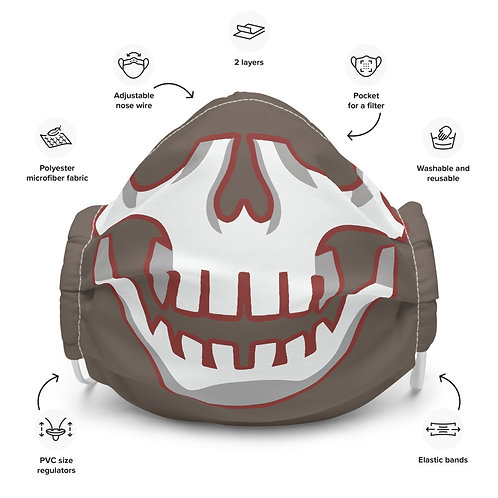 Buccaholics Pewter Skull Cloth Face mask