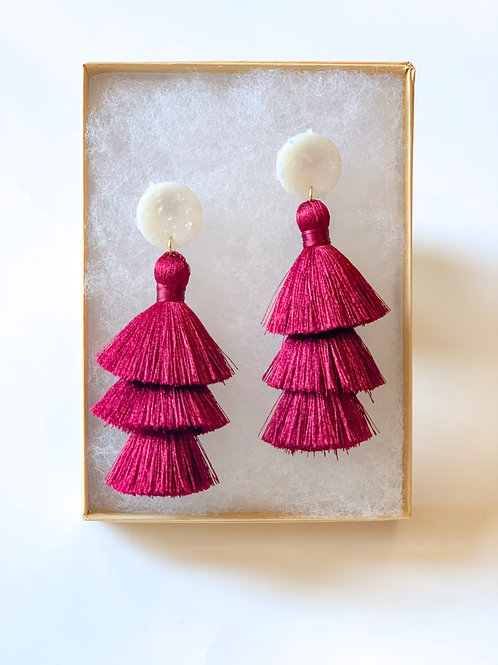 Tiered tassel -Christmas red
