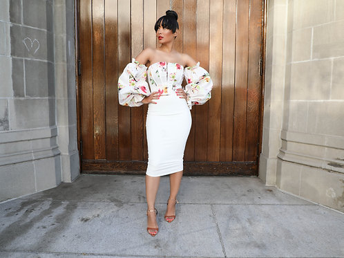 White Colorful Floral Corset w/Puff Sleeves