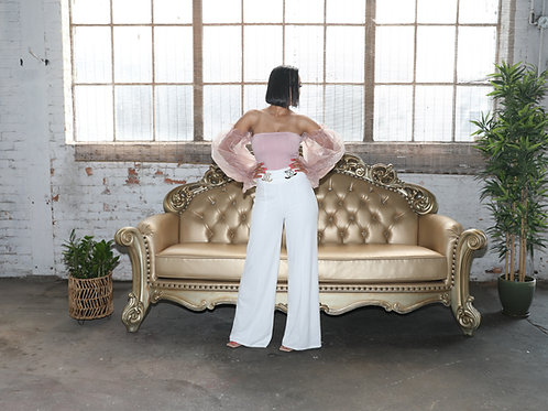 White Wide Long Pants w/Gold & Rhinestone Attached Belt