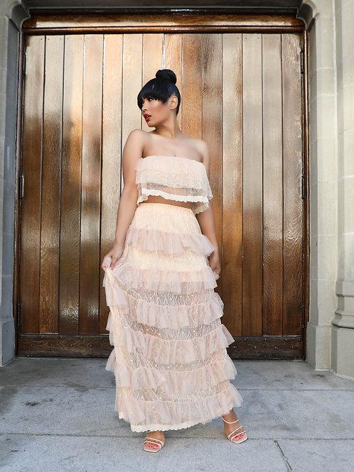 Ruffle Sheer Long Skirt Set