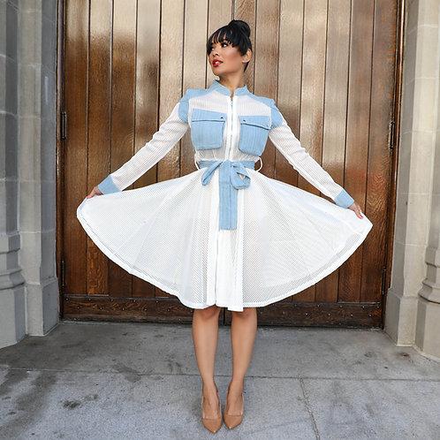 White Mesh Dress w/Jean Details
