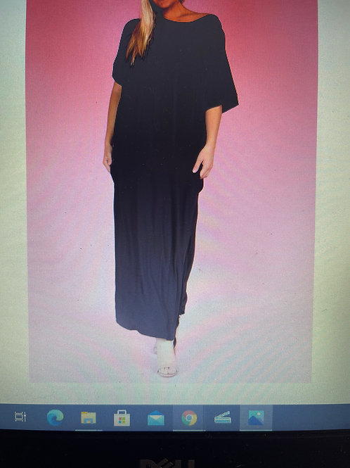 Solid Loose Fit Maxi Dress with a Hood, Short Sleeves and sides Splits