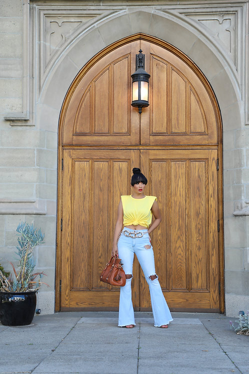 Yellow Shoulder Padded Top