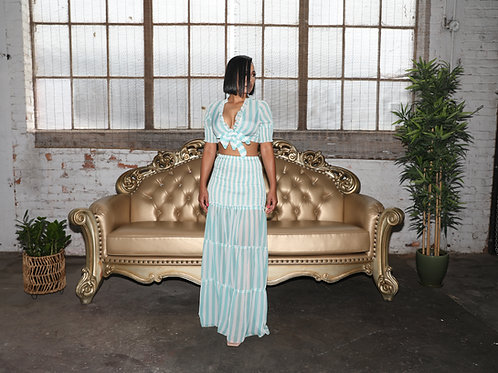 Half Sleeve Ruffles 2 Piece Tie Up Crop Top and Long Maxi Skirt