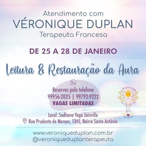 Terapia da Aura - atendimentos com Véronique Duplan - 25 a 28.janeiro/2021