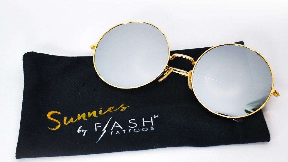 Colored Retro Round Sunglasses With Metallic Lens