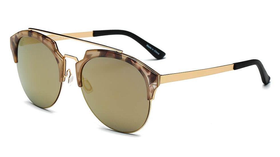 COROLLA   CA15 - Half Frame Mirrored Lens Horned Rim Sunglasses Circle