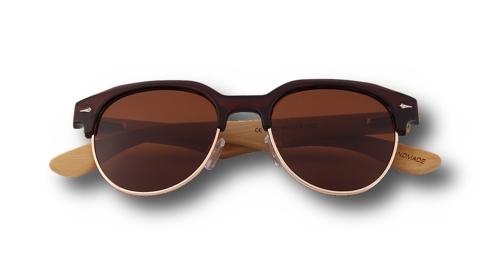 Real Bamboo Vintage Browline Style RetroShade Sunglasses by WUDN