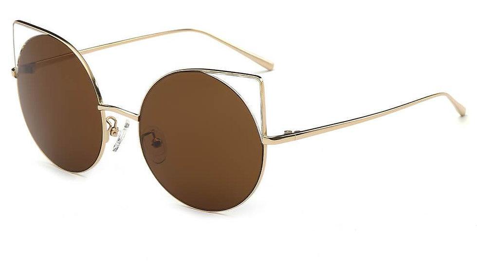 DUBLIN | CA03 - Women Mirrored Lens Round Cat Eye Sunglasses