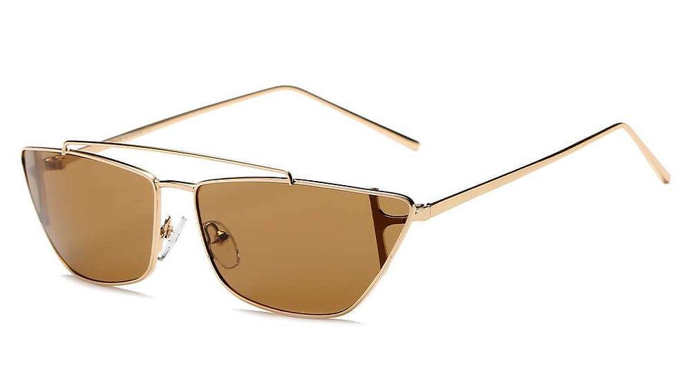 ESTEVAN | S3008 - Women Metal Retro Flat Lens Rectangular Sunglasses