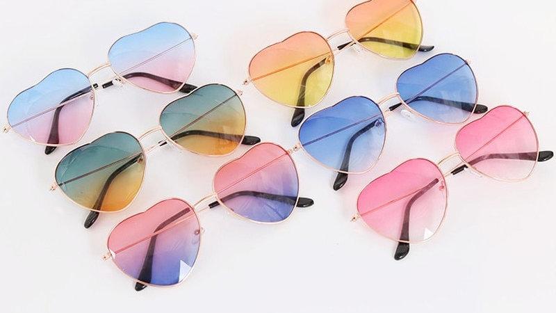 Fashion Heart Shaped Sunglasses Women Metal