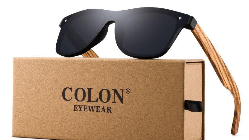 COLON Wood Sunglasses Rimless Frame Square Frame UV400