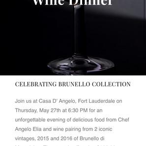 Brunello Wine Dinner at Casa D'Angelo Fort Lauderdale 5/27/21