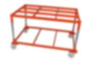 Pallsystem-lavavaunu tuotannon materiaalinkäsittelyssä