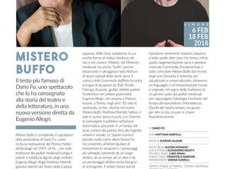 """Coach Fisico per """"Mistero Buffo"""" Produzione Teatro Stabile Torino"""