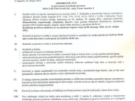 Odobrenje za korištenje prostora u Mjesnom odboru Cvjetno naselje